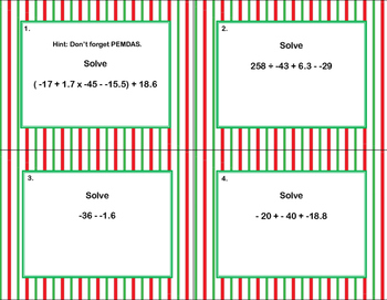 Math Grades 6-7 Order of Operations with Decimals-40 Math Task Cards-Stripes