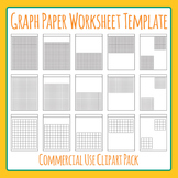 Math Graph Paper Worksheet Templates / Layouts Clip Art Pack for Commercial Use