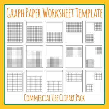 Math Graph Paper Worksheet Templates  Layouts Clip Art Pack For
