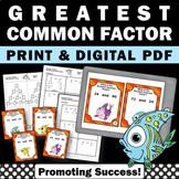 Greatest Common Factor Game SCOOT, 6th Grade Math Review, GCF Task Cards