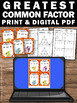 Greatest Common Factor Task Cards, 6th Grade Math Review, GCF Activities