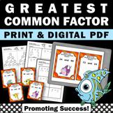 Greatest Common Factor Task Cards GCF 5th 6th Grade Math C