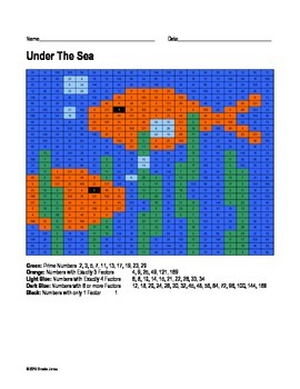 Math Grid Coloring Page: Under the Sea