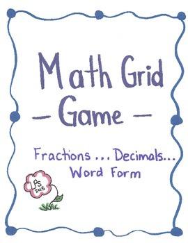 Fractions...Decimals...Word Form Grid Game