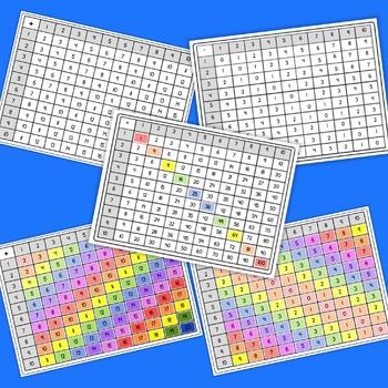 Math Grids (Addition, Subtraction, Multiplication - Colour