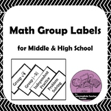 Math Group Labels for Middle & High School