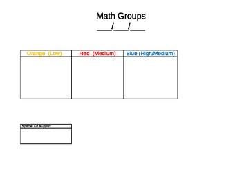Math Groups Spreadsheet