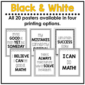 Math Growth Mindset Posters