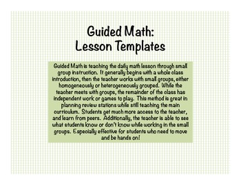 Math: Guided Math Blank Templates & Lesson Plan Examples