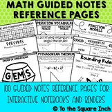 Math Guided Notes Reference Pages