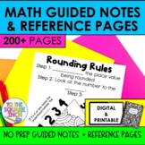 Math Guided Notes and Reference Page Bundle