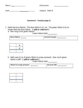 Math HW- 3rd grade