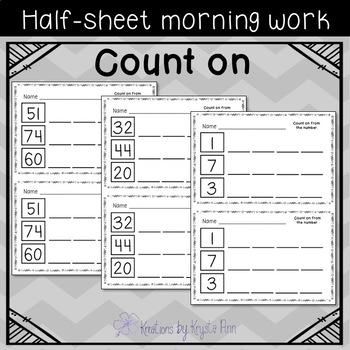 Math Half-Sheet Morning Work : Count on