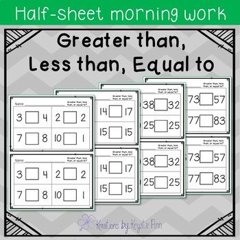 Math Half-Sheet Morning Work : Greater Than, Less Than, Equal to