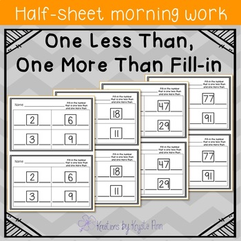 Math Half-Sheet Morning Work : One Less Than, One More Than