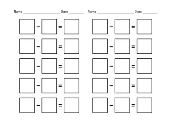 Math Half Sheets to Practice Addition Subtraction & Multiplication