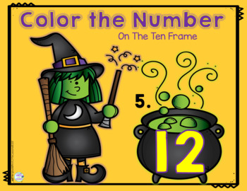 Math Halloween Center:  Witches Brew Ten Frame Coloring