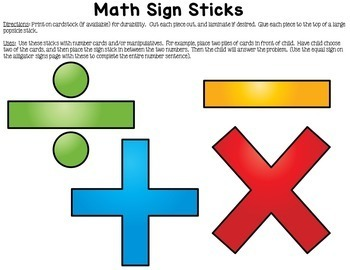 Math Signs Learning Sticks