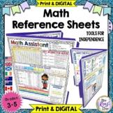 Math Reference Sheets (Grades 3-5) Math Reference Charts - Print & DIGITAL