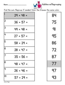 2 Digit Addition w/ Regrouping  2.NBT.B.5 2nd Grade Math Helps
