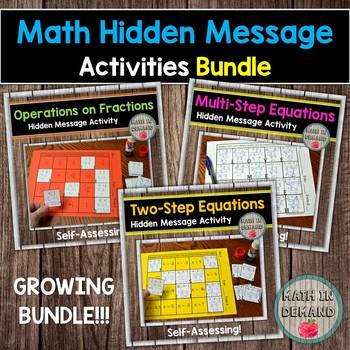 Math Hidden Message Activities Bundle