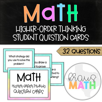 Math Higher Level Thinking Question: Student Question Cards! (ALL GRADES)