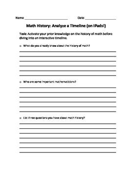 Math History: Analyze a Timeline (on iPads!)