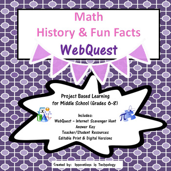 Math History and Fun Facts WebQuest Scavenger Hunt