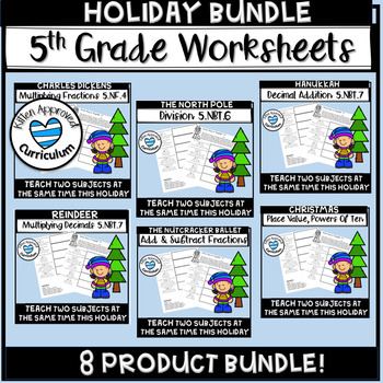 5th Grade Christmas Math Decimals, Fractions, Division Bundle