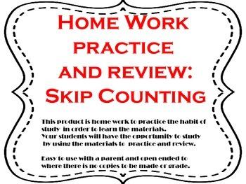 Math Home Work Skip Counting