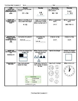 Math Homework Bundle 1-8