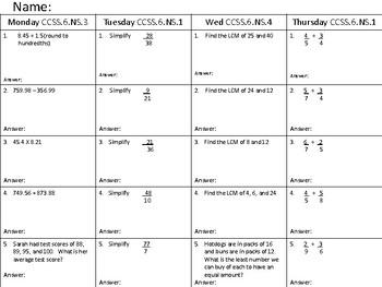 Math Homework CCSS.NS 1,4,3 Week 6