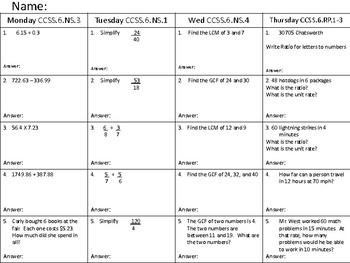 Math Homework CCSS6.NS1,3,4 RP1 WEEK 8