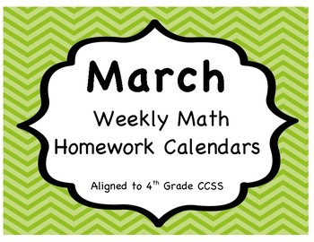 Weekly Math Homework Calendar - March (CCSS Aligned)