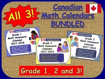 Math Homework Calendars 2017-2018 Bundled - Canadian Curriculum