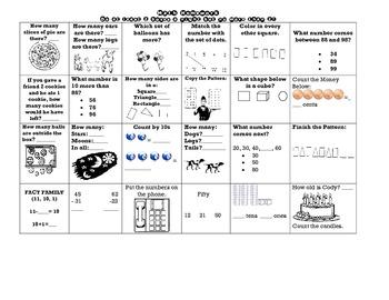 Math Homework Chart- First Grade