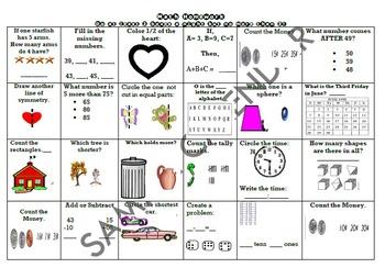 Math Homework Chart- First Grade Pack 2