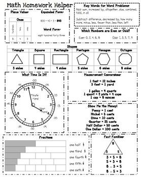 Homework Helper: Math Refer... by Catherine Arnold | Teachers Pay ...
