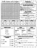 Homework Helper: Math Reference Sheet for 4th grade