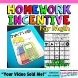 "Math Homework Incentive: ""MATHO"": For Third, Fourth, Fifth Grade Math Homework"