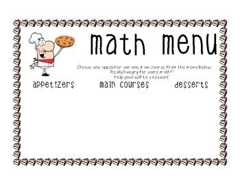 Math Homework Menu