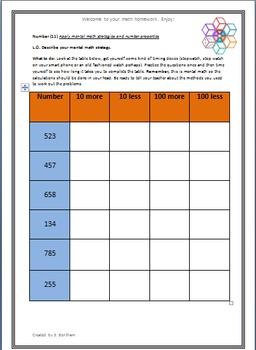 Number Sense Grade 5 full homework/worksheet pack