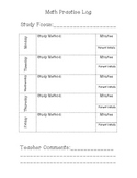 Math Homework Practice Log