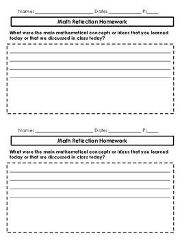 Math Homework Reflection Questions