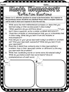 Math Homework Reflection Questions Mathematical Growth Mindset