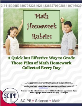 Two Math Homework Rubrics - 5 Point and 10 Point