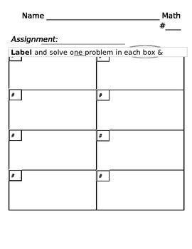 """Math Homework """"Show Work"""" Sheet"""