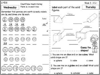 Math Homework 2nd Grade - 2nd quarter