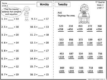 Second Grade Math Homework - 4th Quarter