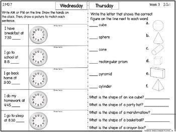 Second Grade Math Homework - 3rd Quarter